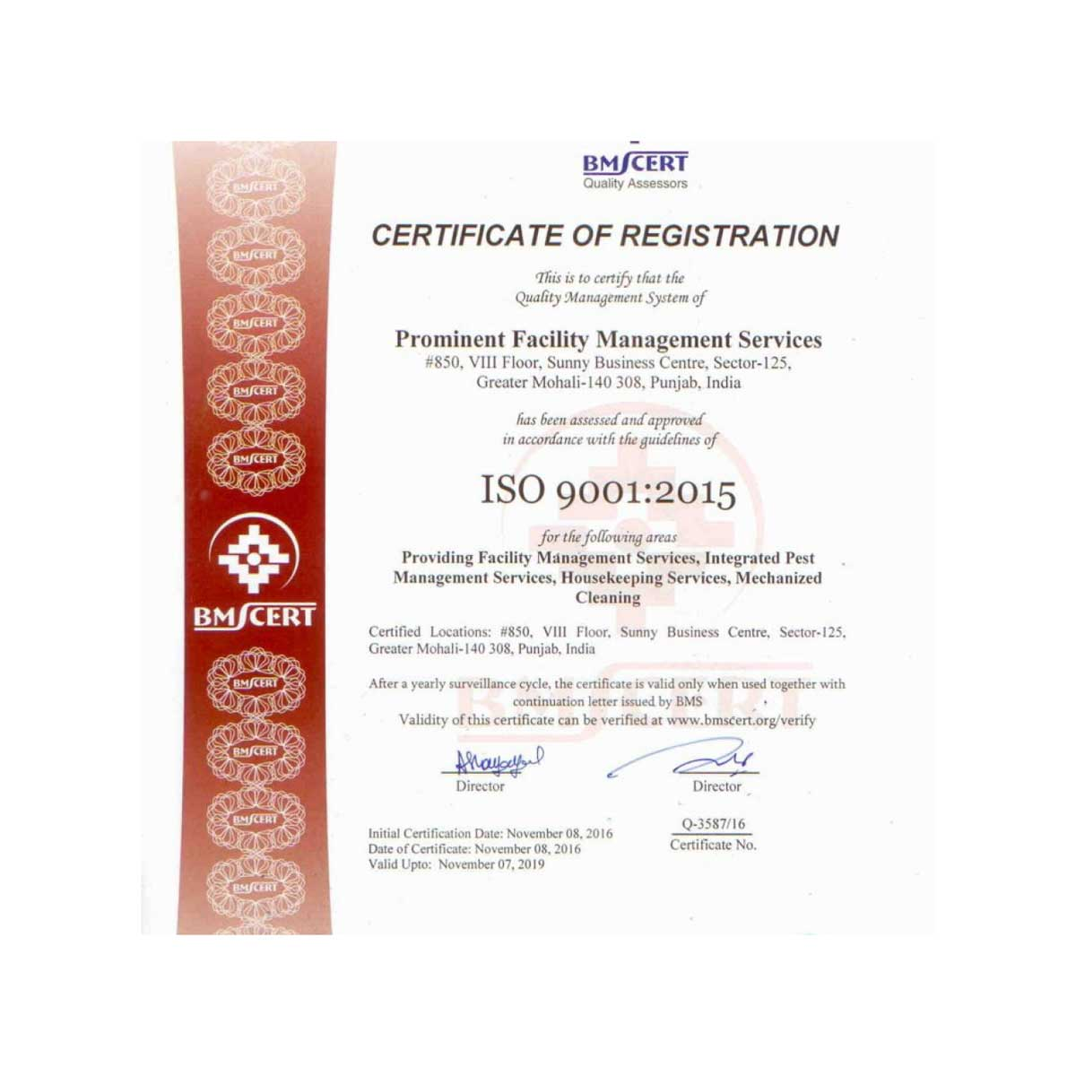 prominent-facility-management-services-certificate